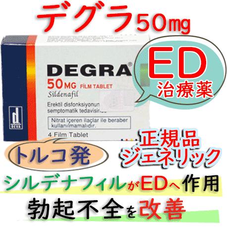 デグラ(Degra)50mg 1箱4錠│高品質なバイアグラ・ジェネリック(シルデナフィルで勃起不全改善)