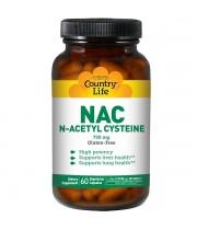 【NAC】 N-アセチルシステイン 750 mg 60粒(ベジタリアンカプセル)<Country Life>