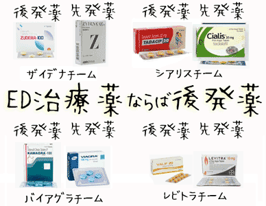 ED治療薬なら4種類の後発薬